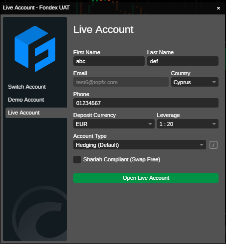 Live account screen